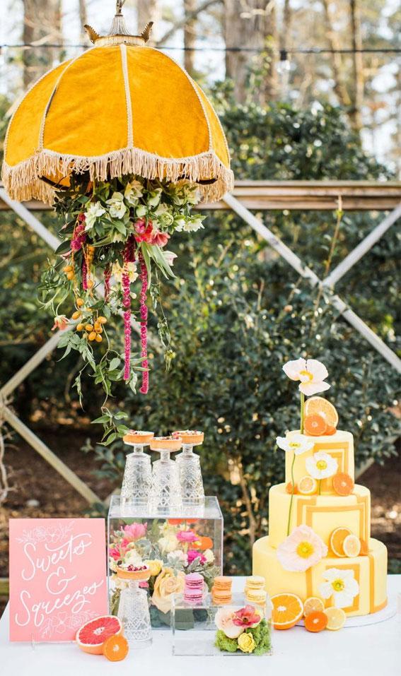 wedding cake table ideas, wedding cake display, wedding dessert table, citrus wedding