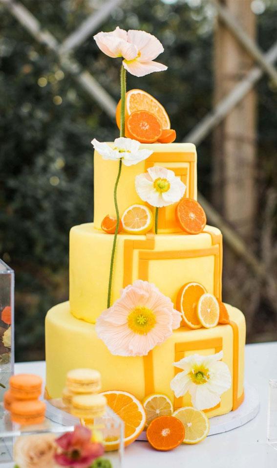 colorful wedding cake, citrus wedding cake, wedding cake, summer wedding cake