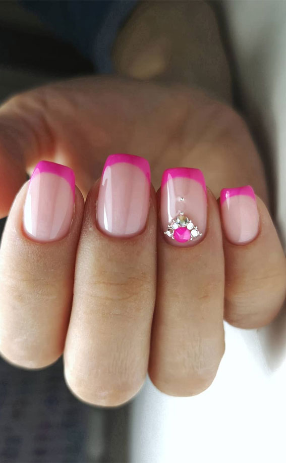 french manicure with color line, colorful french nail tips, neon french nail tip, colored french manicure , french manicure nails, french tip nails designs, french tip nails, french tip nails short, french tip nails designs, french tip nails coffin, french tip nails | acrylic, french tip nails 2020, pink french tip nails