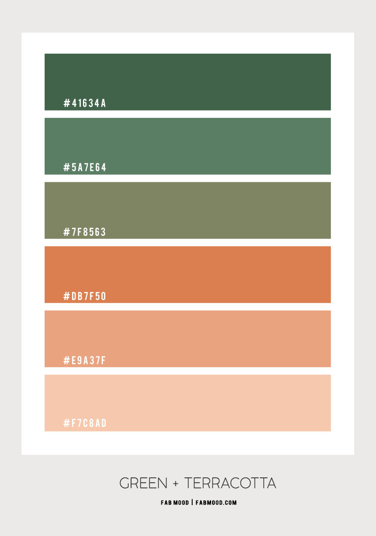 green and terracotta, dusty peach , chive color, green and dusty peach color scheme , color palette