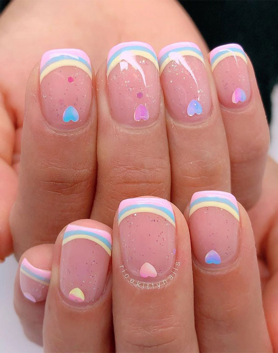 rainbow nails, rainbow tips rainbow french nails