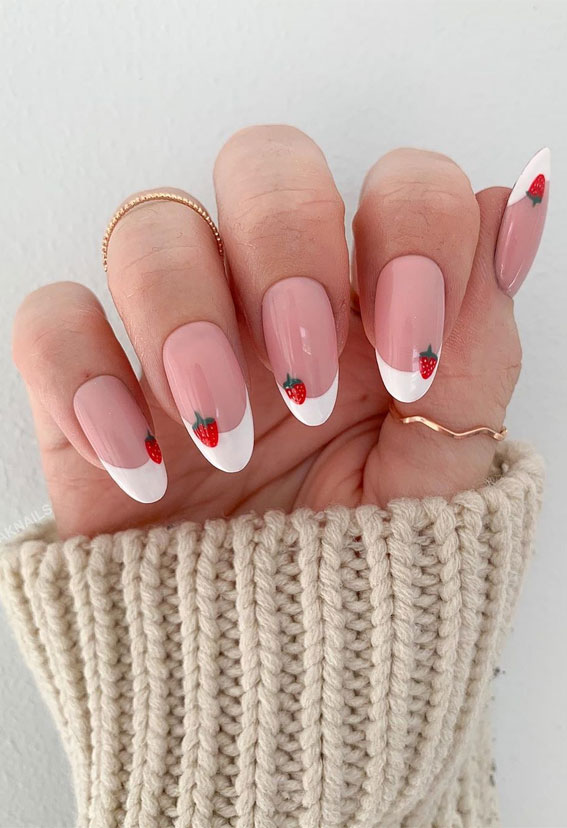 french manicure with color line, colorful french nail tips, neon french nail tip, colored french manicure , french manicure nails, french tip nails designs, french tip nails, french tip nails short, french tip nails designs, french tip nails coffin, french tip nails | acrylic, french tip nails 2020, strawberry french tip nails