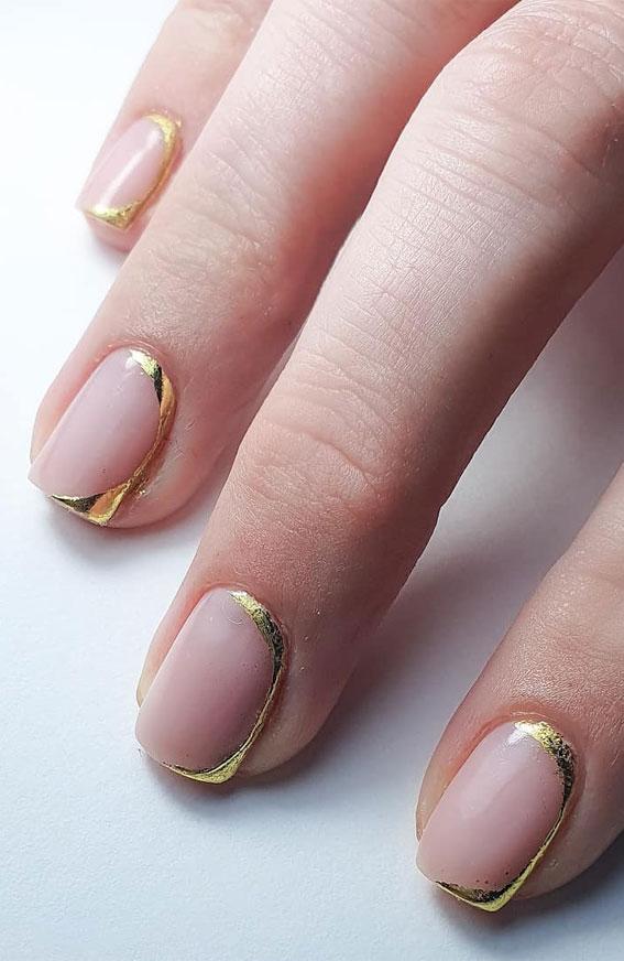 gold french tips, gold foil nails, simple short nails , short nails design