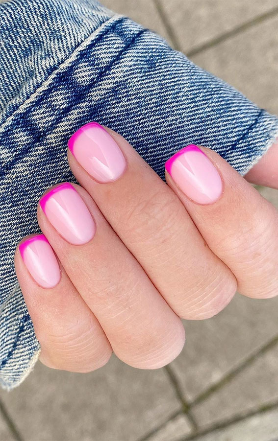 pink french tips, pink french nails, hot pink french tips