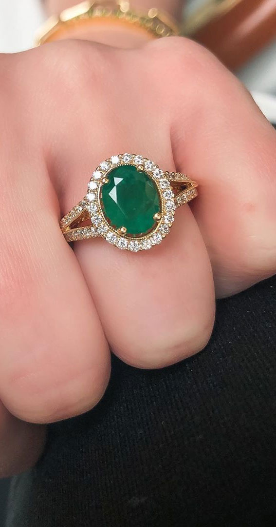 emerald green oval cut engagement ring, oval engagement ring, solitaire engagement ring