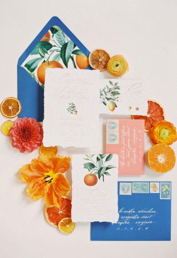 citrus wedding invitations, citrus wedding ides, citrus wedding , summer wedding invitation