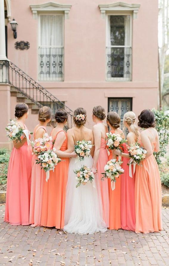 peach and orange bridesmaid dresses, citrus bridesmaid dresses