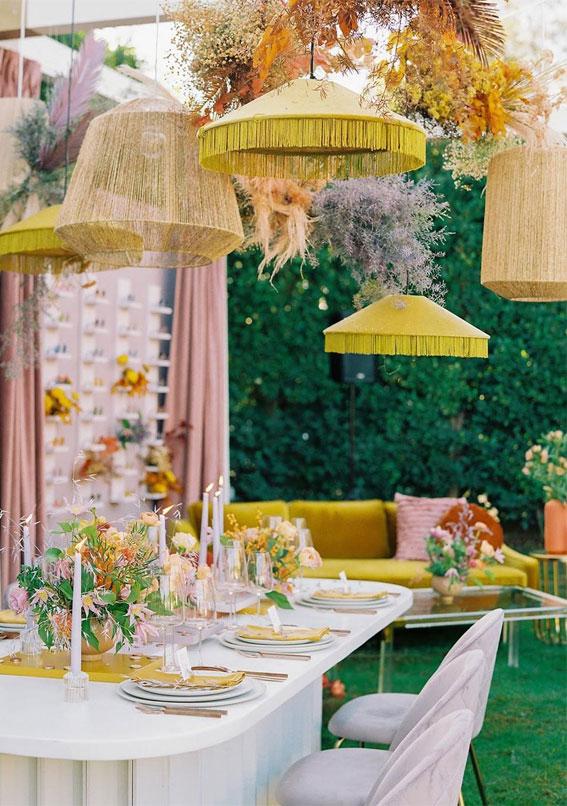 bright and colorful wedding reception decor, boho wedding theme