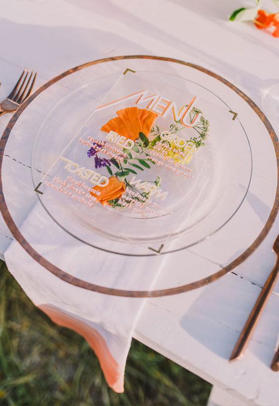 acrylic dinner menu, wedding place setting, summer wedding ideas, floral press on acrylic