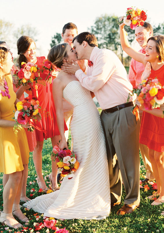 orange bridesmaid dresses, summer bridesmaid dresses