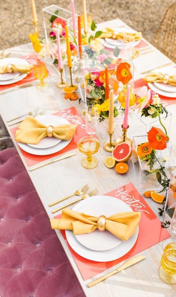 citrus wedding table decorations, summer wedding table decor, colorful wedding decor