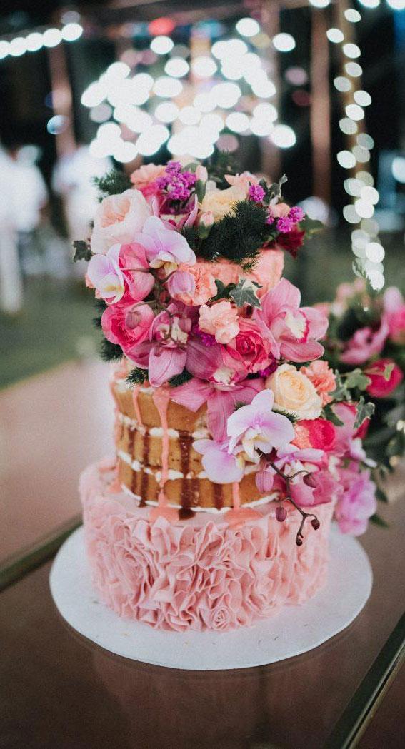 naked wedding cake, pink wedding , tropical wedding , naked wedding cake with pink icing