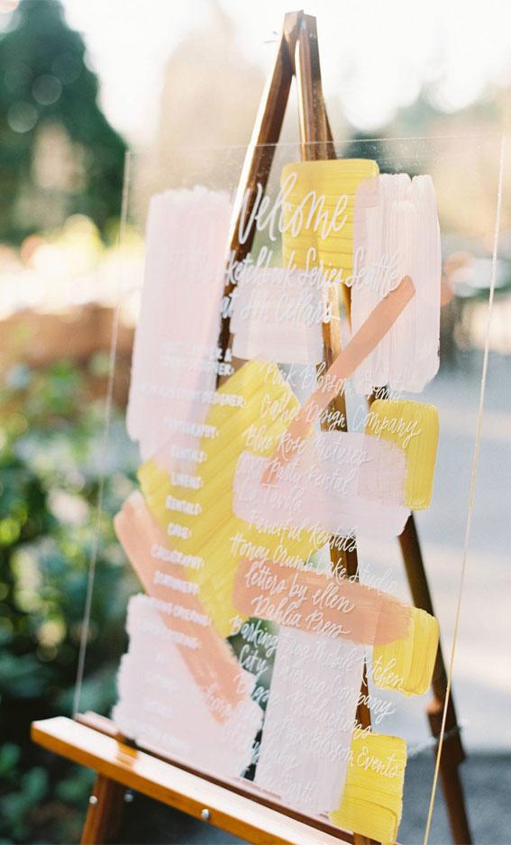 welcome wedding sign, acrylic welcome wedding sign, summer wedding ideas