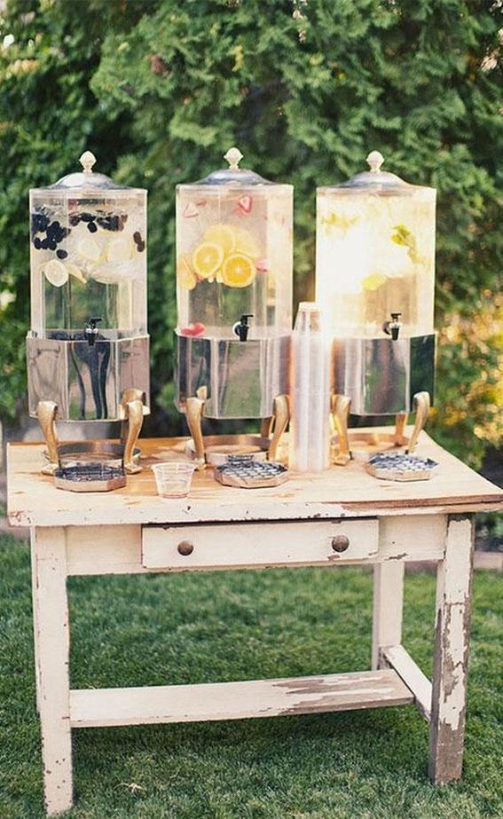 wedding drink station, summer wedding drink ideas, summer wedding ideas, wedding ideas, colorful wedding ideas