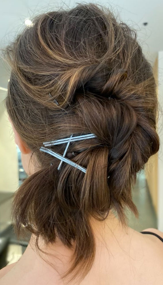 undone hair up style with bobby pins , hair pins , updo with bobby pins