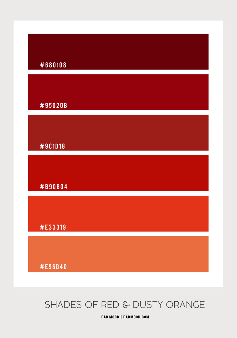 shades of red, shades of red color , shades of red color combo, red color combo, red color palette , autumn color palette, dusty orange