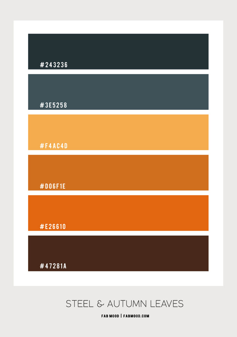 color hex, steel and yellow, dusty blue and brown , steel and shades of autumn leaves, autumn colour palette, fall color combo, dusty blue and yellow brown , autumn color scheme