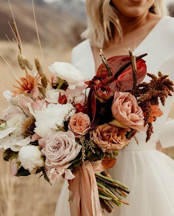 fall bridal bouquet, autumn bouquet