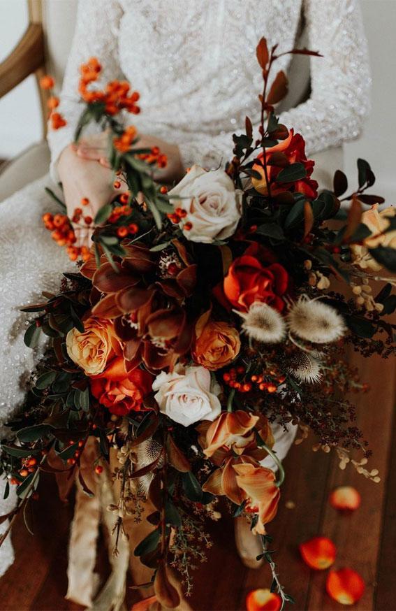 burnt orange wedding bouquet, fall wedding bouquet, autumn wedding bouquets, autumn wedding bouquet ideas, fall wedding bouquet ideas, fall bridal bouquet