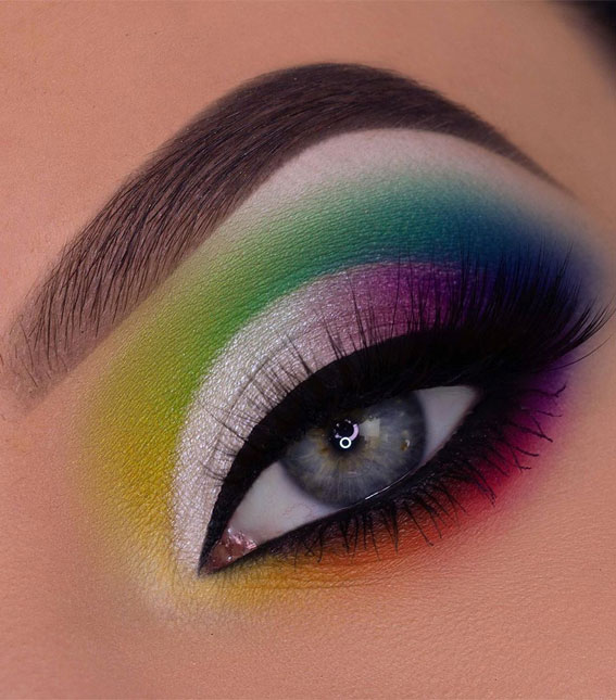 colorful eye makeup look, eyeshadow look, colorful eyeshadow look, eye make up ideas, colorful eyemakeup ideas