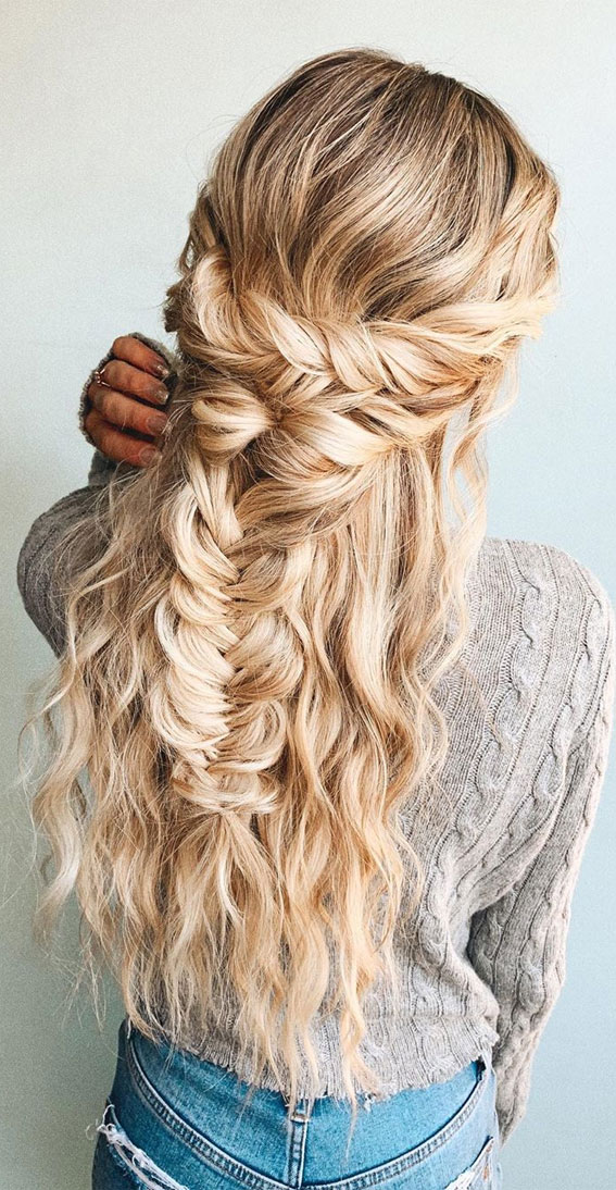 braided half up, boho braid hairstyle