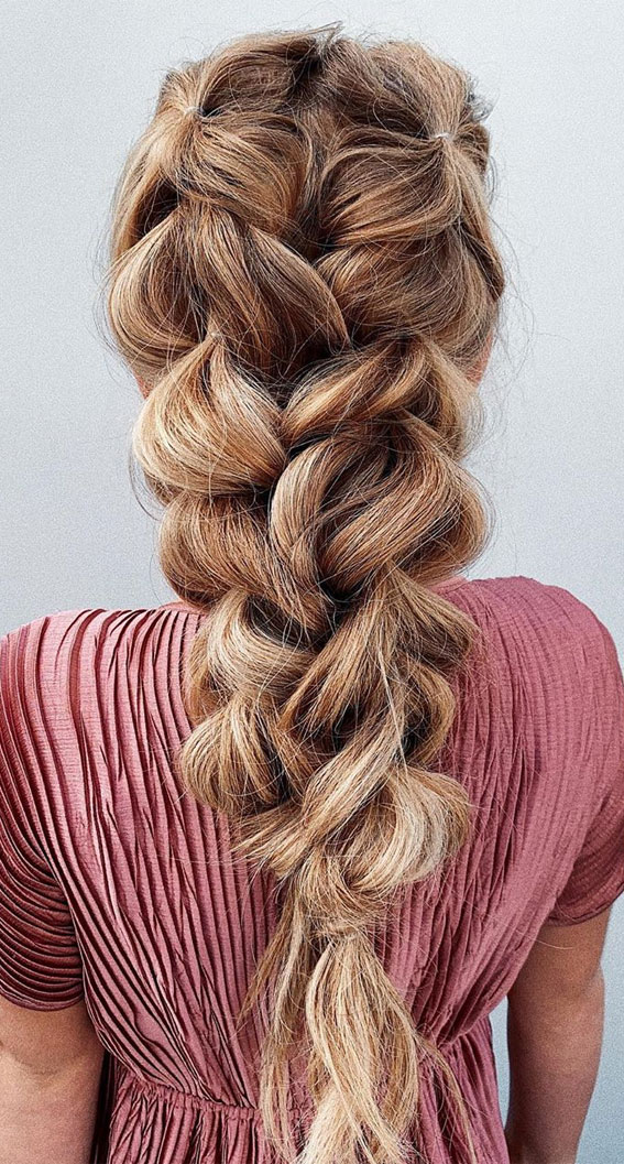 pull through braid, boho braid, chunky braids, braided hairstyle, best braid hairstyles 2020