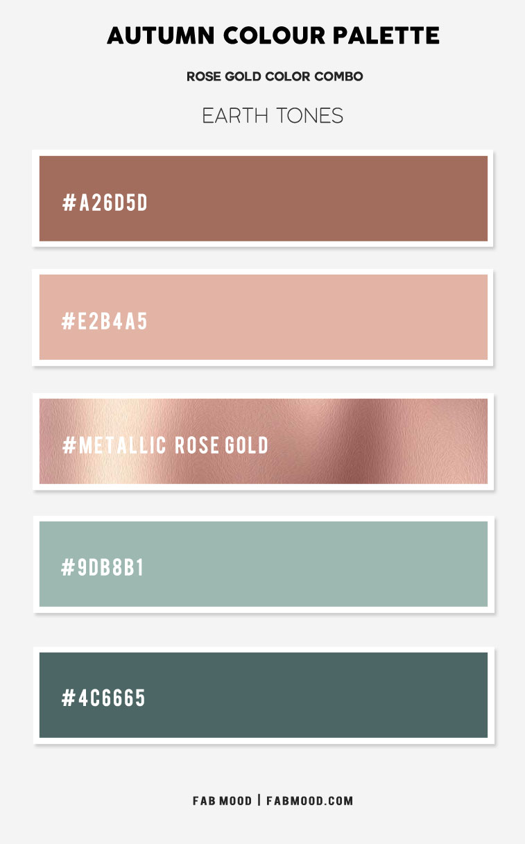 mint and rose gold, green and rose gold, metallic rose gold and green, rose gold color combo