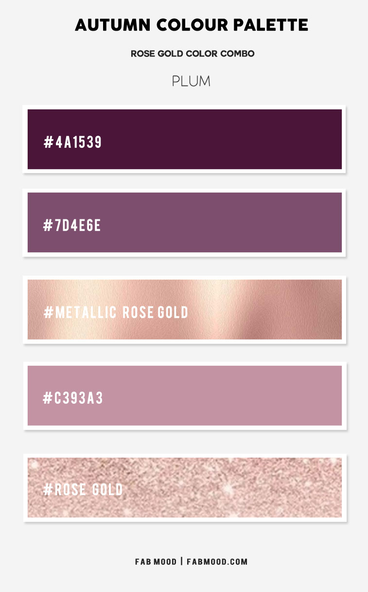 plum and rose gold, autumn color palette, plum and rose god color combo