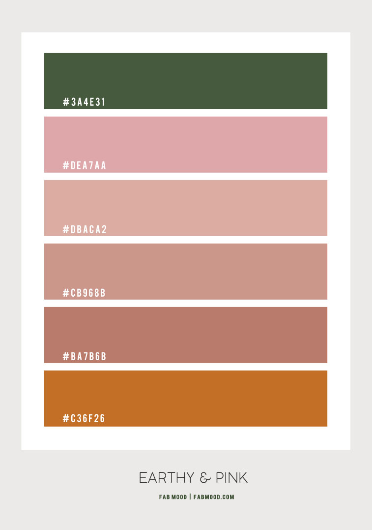 pink and earthy color, earthy hex color, earth tone color, earth tone color scheme, earth tone color combo, warm earth tones