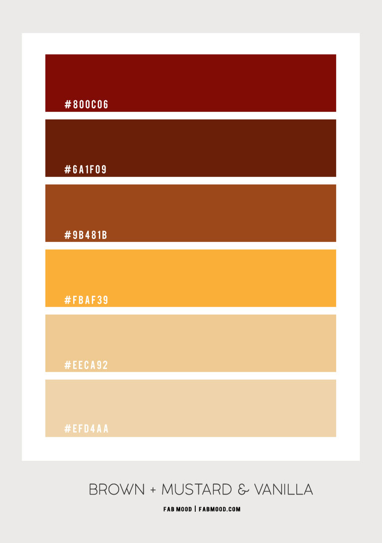brown and mustard color combo, fall color combo, fall color scheme, fall color palette, fall color combination, autumn color combo