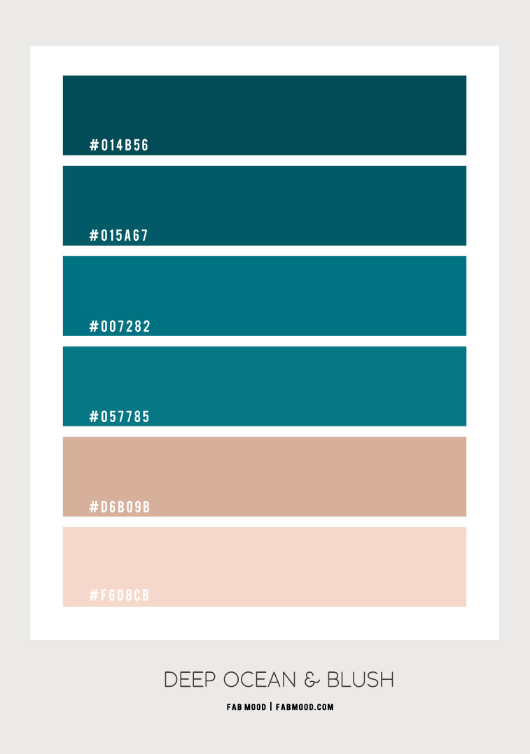 color hex, deep green and blush, blush and deep green color hex, color combo, color palette, color scheme, deep ocean color