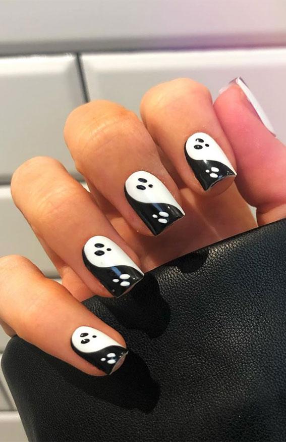 ying yang ghost nails, halloween nails, halloween nail art, halloween nail designs 2020