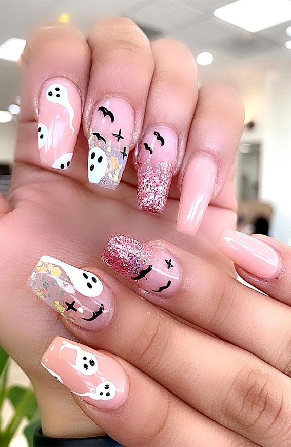 pink halloween nails, halloween nail art, halloween nail designs 2020