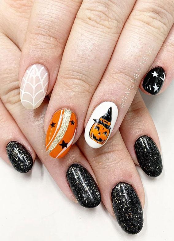 glitter halloween nails, mixed halloween nails, halloween nails, halloween nail art, halloween nail designs 2020