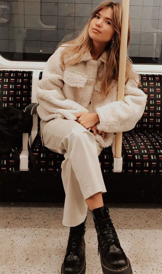 cream teddy jacket, winter outfit ideas, teddy bear coats, teddy bear jackets, teddy jacket outfits