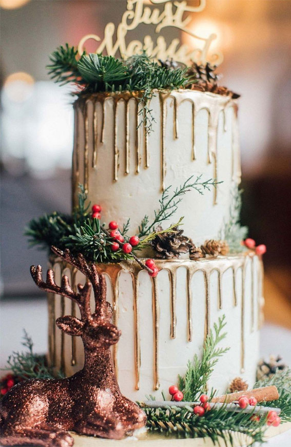winter wedding cake, wedding cake, metallic wedding cake