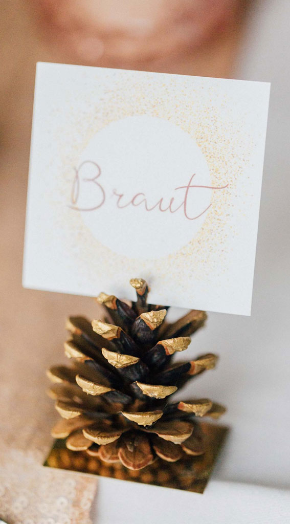pine cone wedding place card, pine cone escort card, winter escort cards