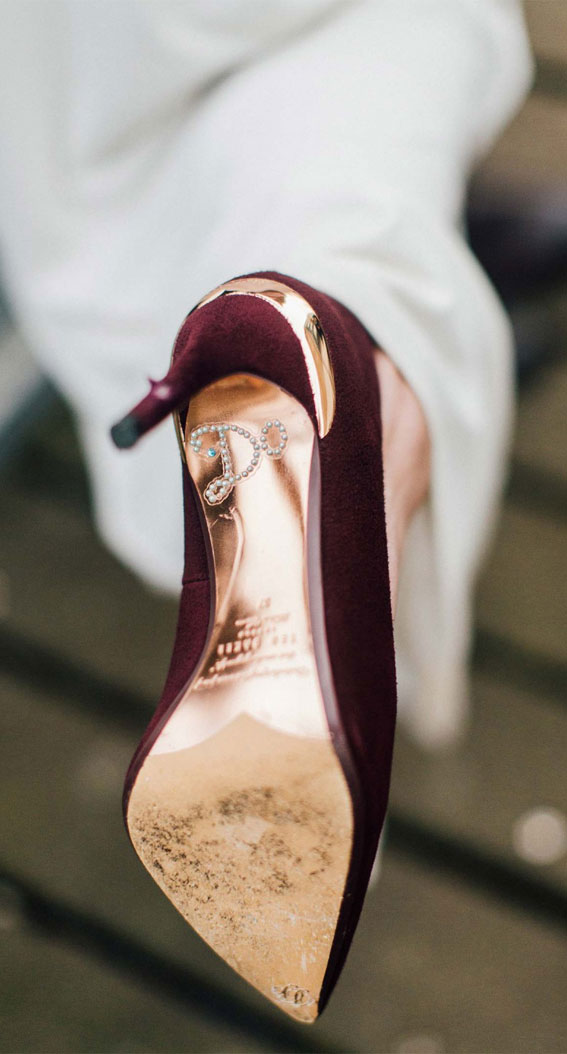 burgundy bridal shoes, burgundy wedding heels
