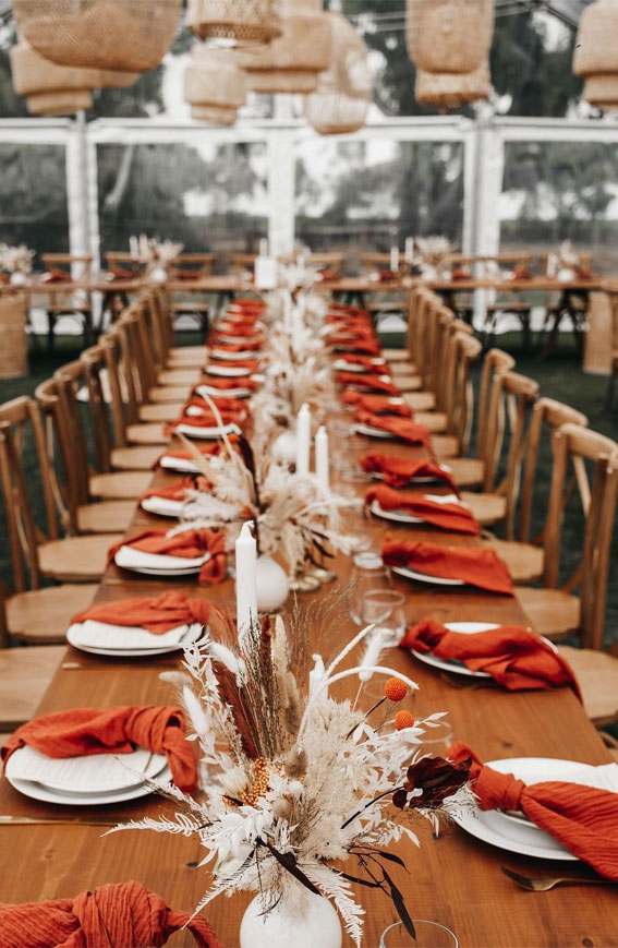 Pretty Ways to Dress Up Your Wedding Reception Tables : Boho wedding table