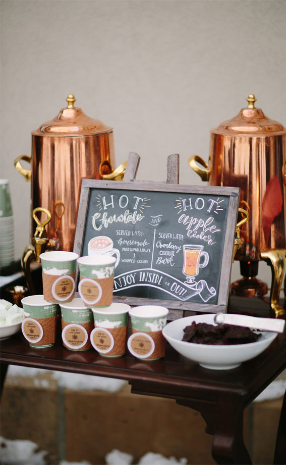 hot chocolate and apple cider bar, winter hot drink bar, autumn hot drink bar