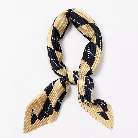 navy blue and beige geometric print scarf, hair scarf, hairscarf, navy blue and beige hair scarf