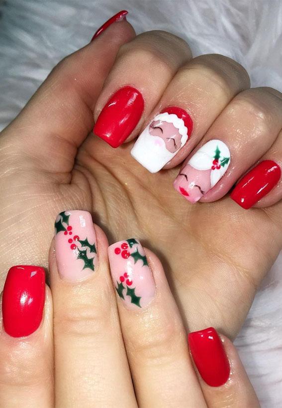 red santa nails, santa christmas nails, christmas nail designs 2020, christmas nails, christmas nails 2020, red festive nails, red nail designs for christmas, easy christmas nail art, red christmas nail designs 2020, red nails, festive nails, red christmas nails