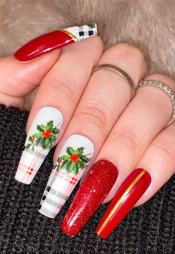 white tartan and red nail design, red plaid christmas nails, christmas nail designs 2020, christmas nails, christmas nails 2020, red festive nails, red nail designs for christmas, easy christmas nail art, red christmas nail designs 2020, red nails, festive nails, red christmas nails