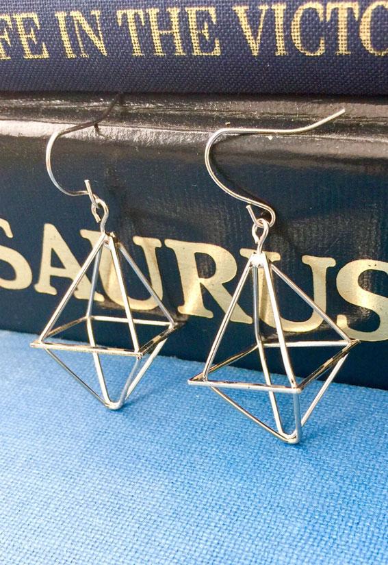geometric earrings, silver geometric earrings