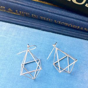 geometric earrings, silver geometric earrings