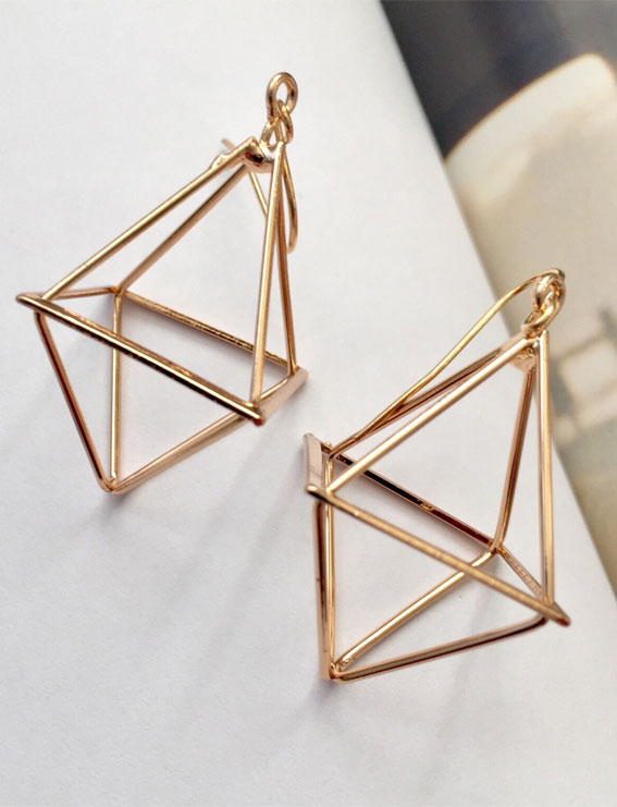 geometric earrings, gold geometric earrings