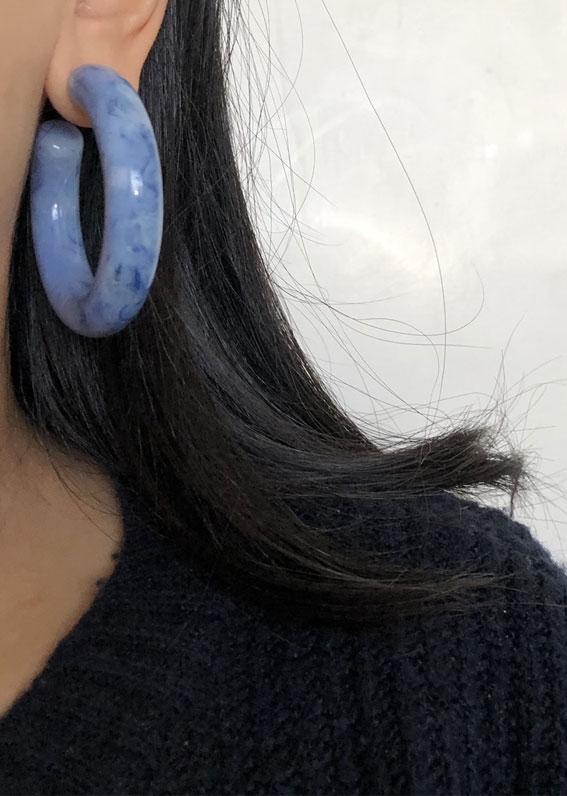 chunky blue earring, chunky blue hoop earrings, hoop earrings, blue hoop earrings, chunky hoop earrings