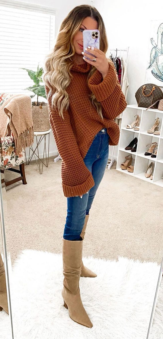 brown sweater with denim, oversized jumper fall outfit, fall outfit, fall fashion, oversized jumper, autumn outfit , fall fashion 2020