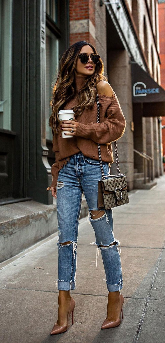 sweater with ripped jeans, oversized jumper fall outfit, fall outfit, fall fashion, oversized jumper, autumn outfit , fall fashion 2020