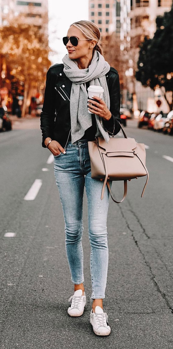 black leather jackets with ripped jeans, oversized jumper fall outfit, fall outfit, fall fashion, oversized jumper, autumn outfit , fall fashion 2020